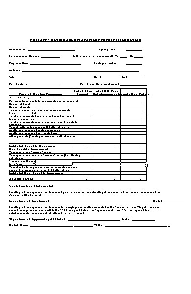 employee expense information form