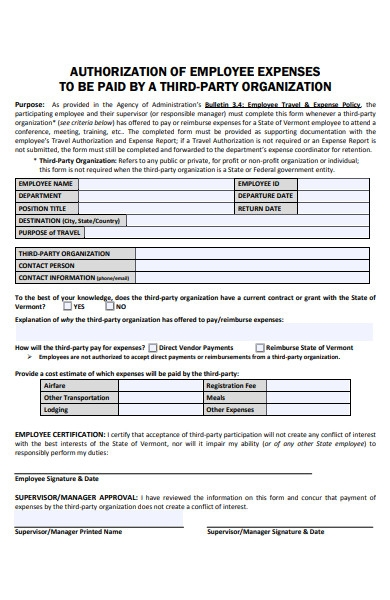 employee expense payment form