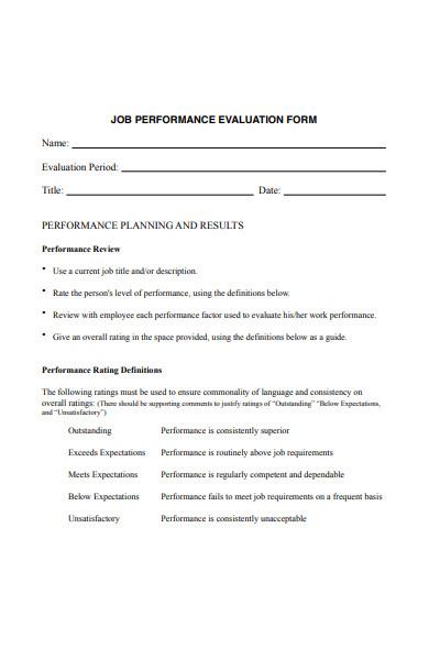 employee job performance evaluation form