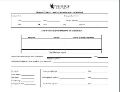 employee payroll adjustment form