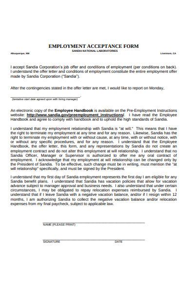 employment acceptance form
