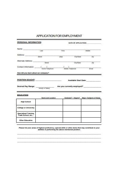employment application form1