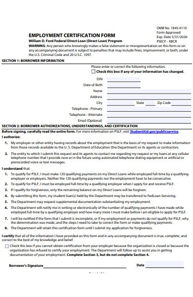 employment certification form