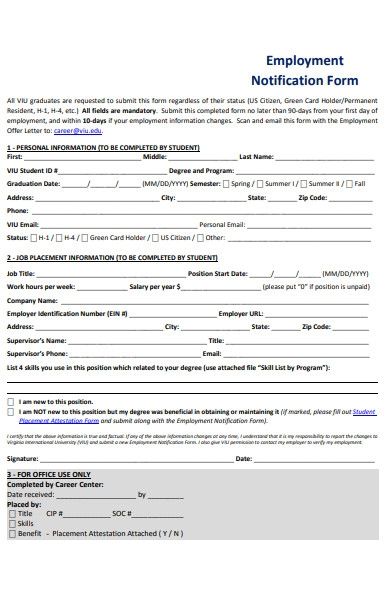 employment notification form