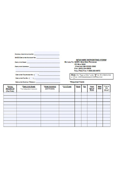 employment reporting form