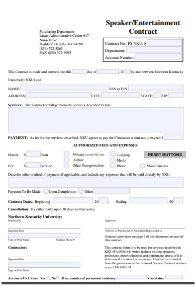entertainment contract form