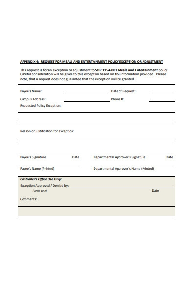 entertainment policy form