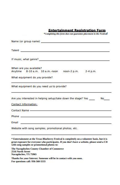 entertainment registration form