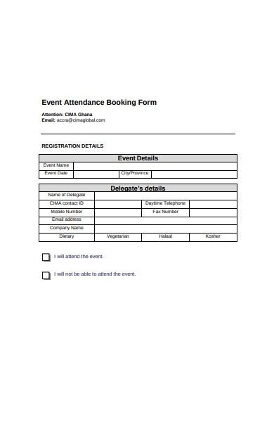 event attendance booking form