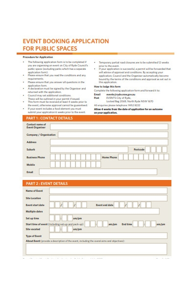 event booking application form