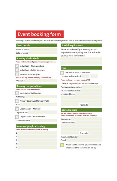 event booking form sample