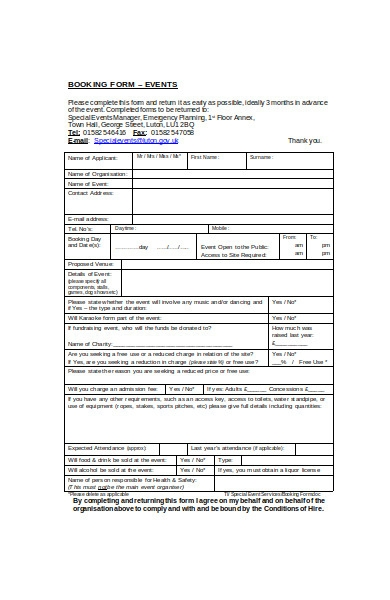 event booking form in doc