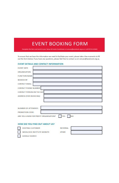 event booking form