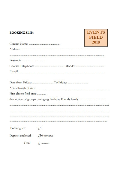 event field booking form