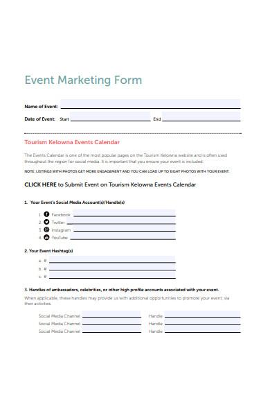 event marketing form