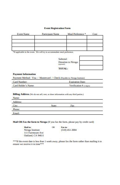 event payment registration form