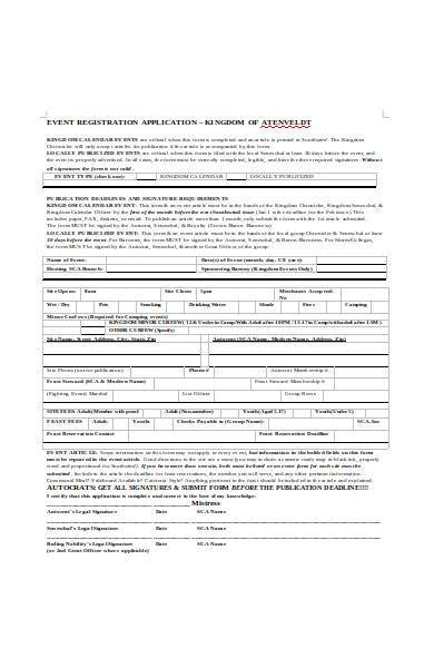 event registration application form