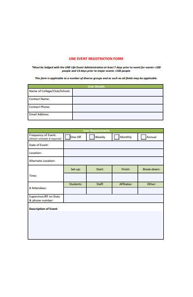 event registration booking form