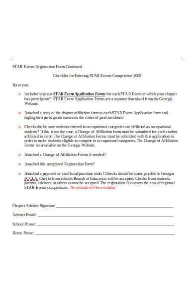 event registration form checklist