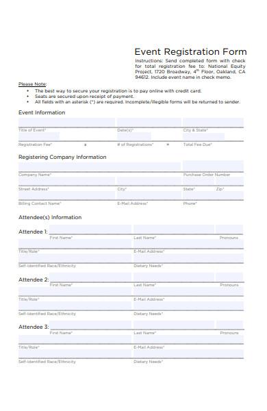 event registration form payment authorization