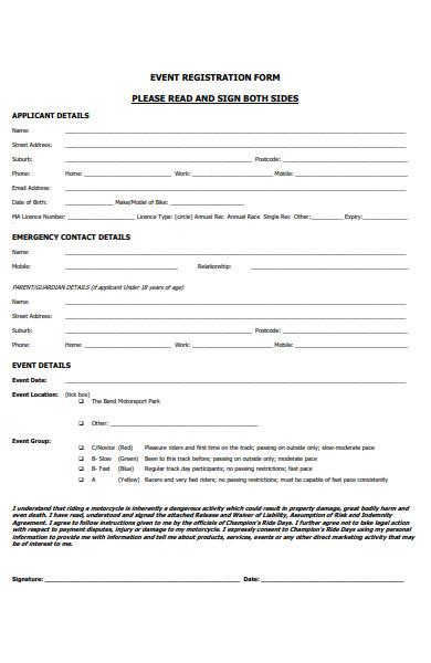 event registration form for applicant
