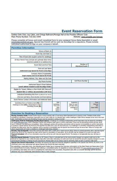 event reservation form1