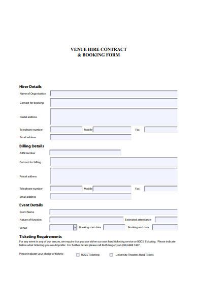 event venue booking form