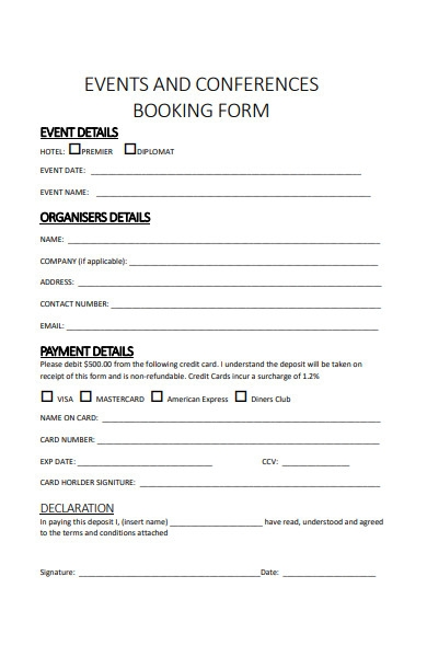 events and conference booking form