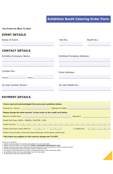 exhibition catering order form