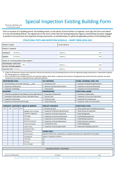 existing building inspection form