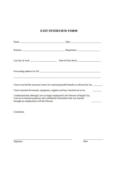 exit interview final check form