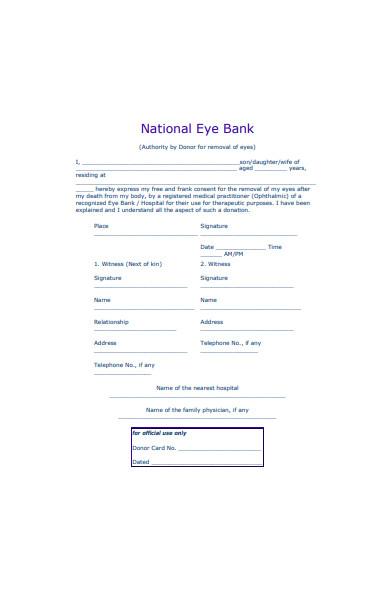 eye bank registration form