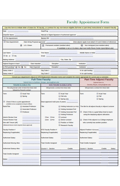 faculty appointment form
