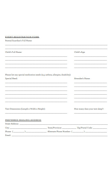 family camp event registration form