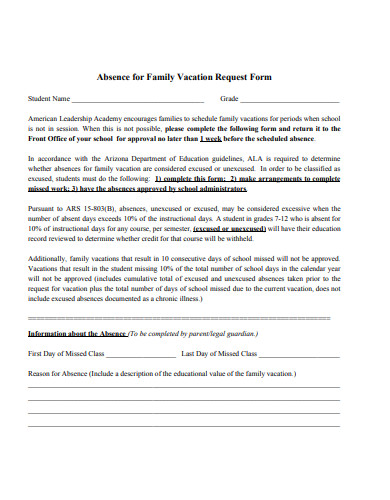 family vacation request form
