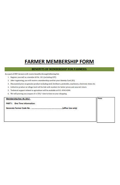 farmer membership form