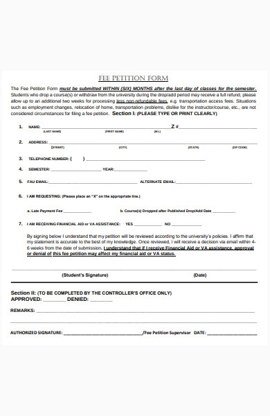 fee petition form