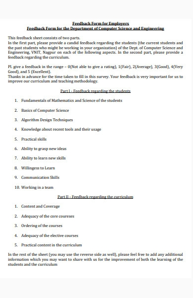 feedback form for employers