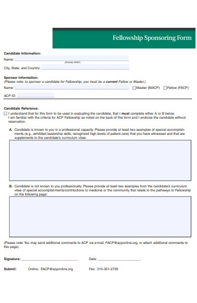 fellowship sponsorship form