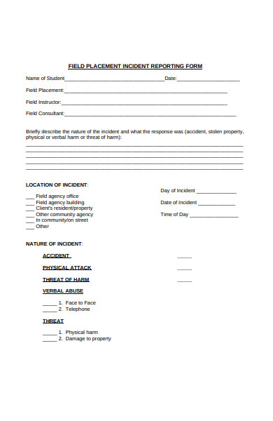 field placement incident report form
