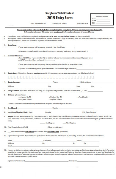 final contest entry form