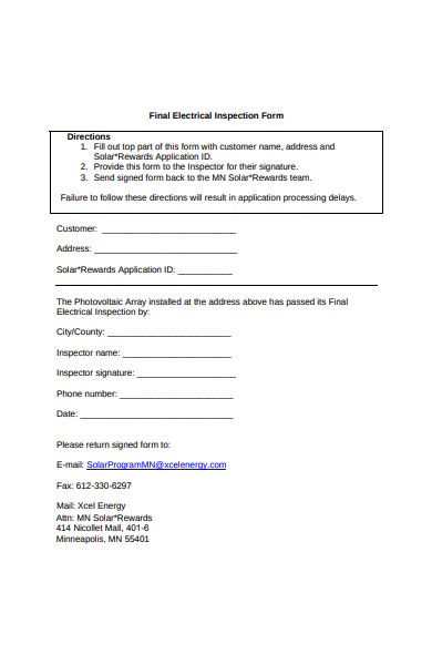 final electrical inspection form