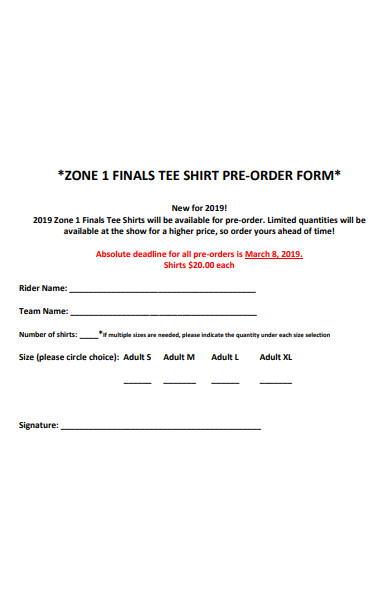 final t shirt preorder form