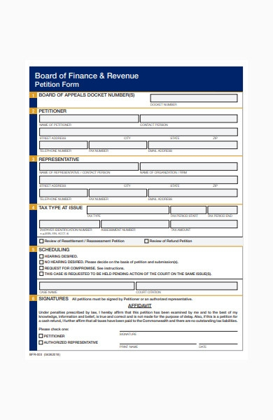 finance and revenue petition form