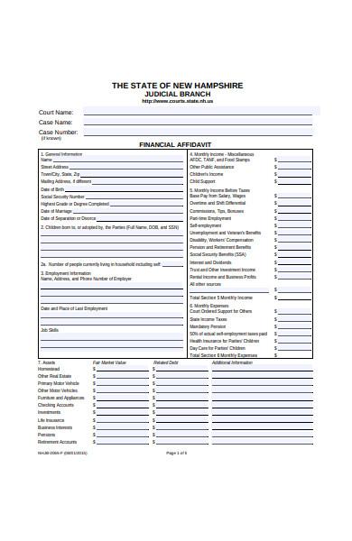 financial affidavit form template