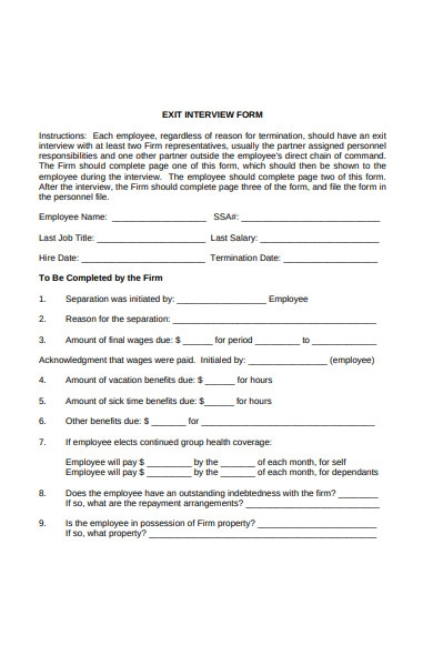 firm exit interview form