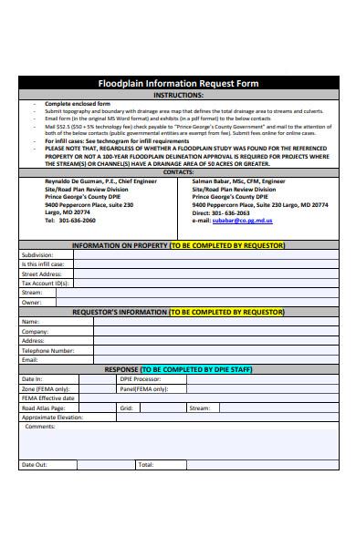 floodplain information request form