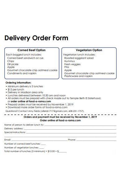 food delivery order form