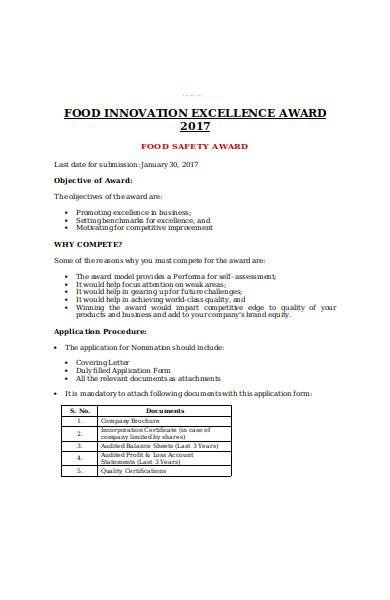 food safety award form