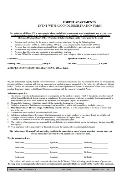 forest apartments event registration form